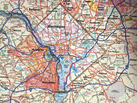 district of columbia: a road map of the Washington. D.C. metropolitan area Stock Photo