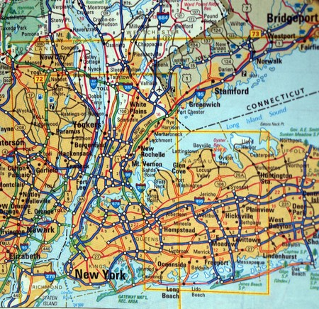 new york map: a road map of the New York City, NY. metropolitan area