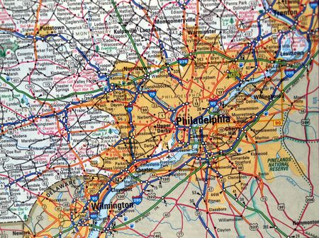 pa: a road map of the Philadelphia, PA. metropolitan area