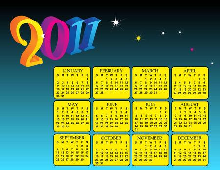 a colorful calendar for the year 2011 Ilustração