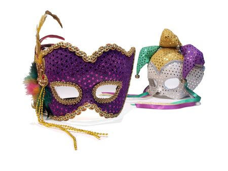a pair of carnival mask posed on a white background photo