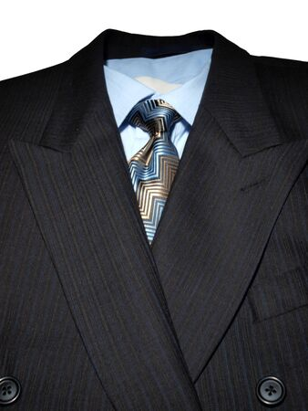 close up of a dark mens business suit with shirt and tie photo