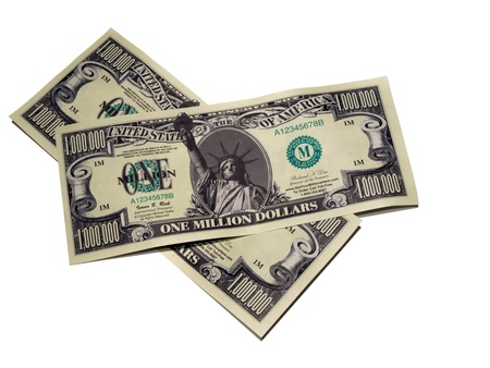 million dollars: a pair of fake one million dollar bills of United States of America currency Stock Photo