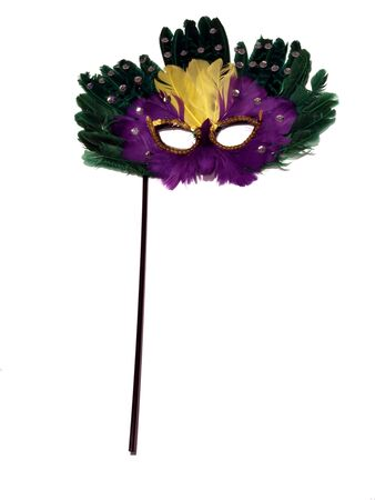 a feathered masquerade mask posed on a white background