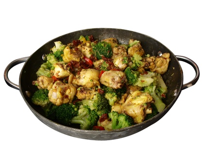 isolated photo of cooked curry chicken stirfry in a wok ready to be eaten