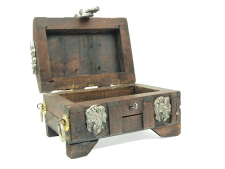 A empty miniature wooden pirate treasure chest on a white background