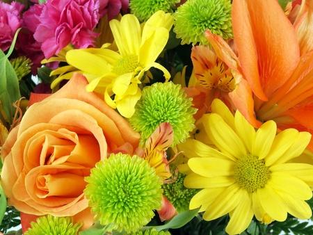 bouquet fleur: Gros plan sur un bouquet de fleurs sur un fond blanc