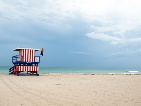 cropping: a South Beach styled lifeguard stand on a beach of Miami South Beach, Florida with copy and cropping space. Stock Photo