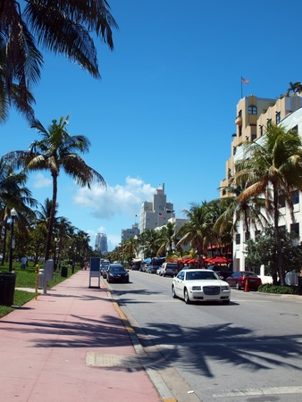 View of Ocean Drive in South Beach Miami, Florida on 8-22-11. Stockfoto