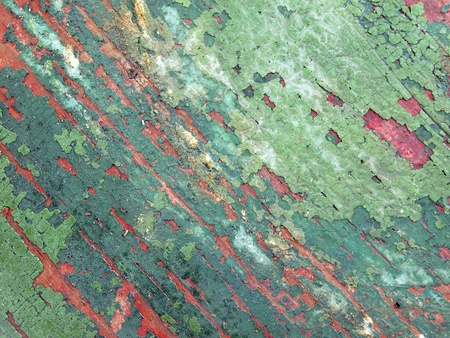 distressed: close up photo of green painted distressed wood of a vintage table Stock Photo