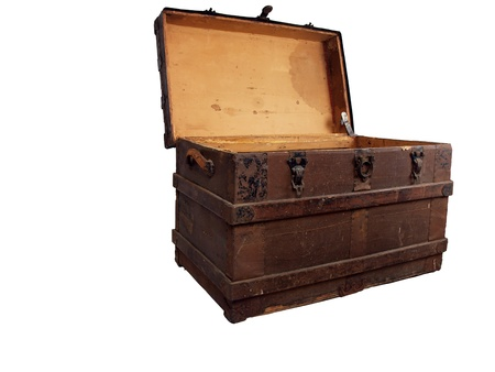 a antique wooden chest that is open and isolated on a white background photo