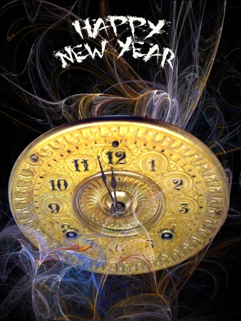 Close up of the minute hand of a antique clock face about to strike 12 o-clock midnight to start the new year with happy new year text and digital flames in the background