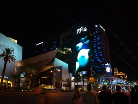 The Vegas Strip is where all of the action lies in the city of Las Vegas. The is a nighttime street scene shot of the Aria hotel and casino taken on 92013