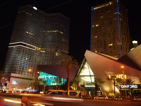 The Vegas Strip is where all of the action lies in the city of Las Vegas. The is a nighttime street scene shot of the Fendi and Gucci stores taken on 92013