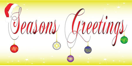 vector illustration of text spelling out Seasons Greetings adorned with a christmas hat and christmas bulbs