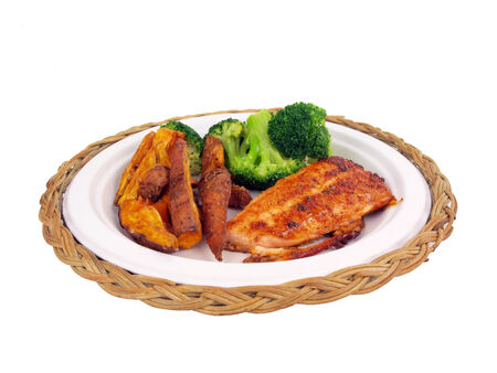 brocolli: a dinner of salmon, sweet potato fries and brocolli isolated on white background Stock Photo