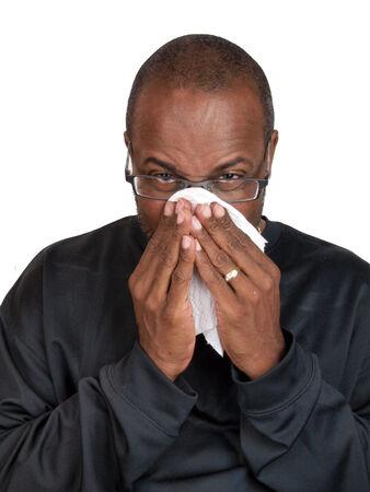 African American man suffering from a sore throat photo