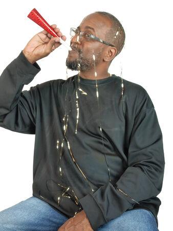 african american man enjoying a festive occassion photo