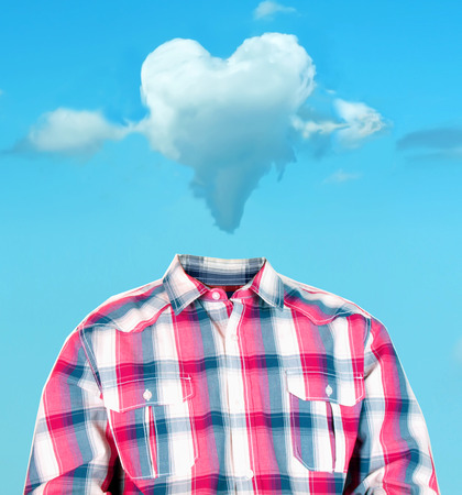 photo manipulation: funny photo manipulation of a mans body with a heart shaped cloud as his head