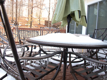 icecycles that formed on patio furiture during a winter cold spell