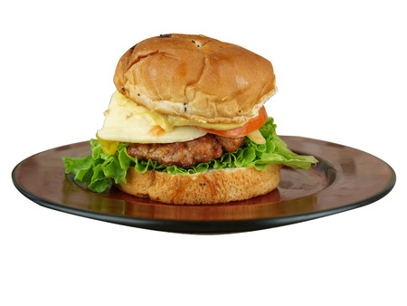 isolated image of a burger sandwich with lettuce, tomato, onion, cheeese, and mustard on a plate ready to be eaten