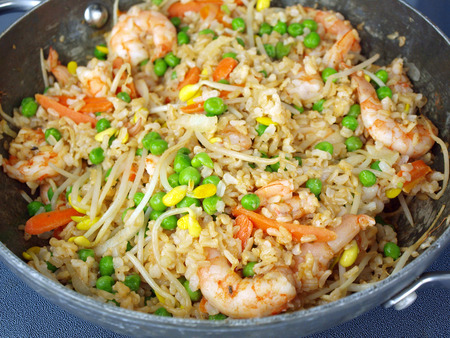 home cooked meal of shrimp fried rice