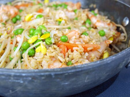 home cooked: home cooked meal of shrimp fried rice
