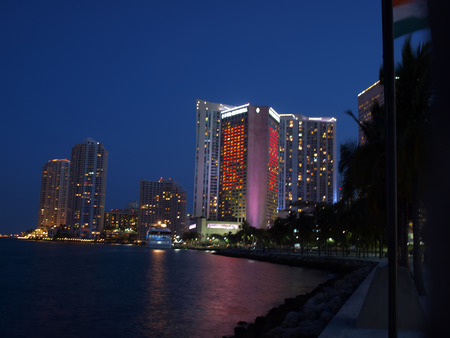 night scene image of buildings of downtown Miami Stock fotó