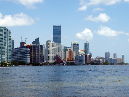commercial real estate: View of the downtown Miami, Florida skyline during the summer.