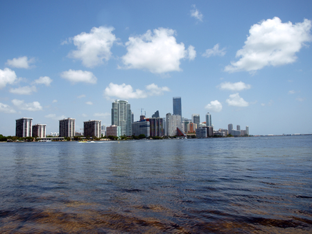 View of the downtown Miami, Florida skyline during the summer.