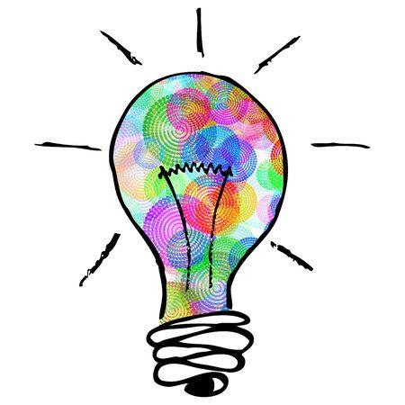 비즈니스와 지적 레이아웃에 대 한 창의적인 아이디어 개념 그림 된 아이디어를 갖춘 전구 모양의 전구 안에 다채로운 원형 패턴 스톡 콘텐츠