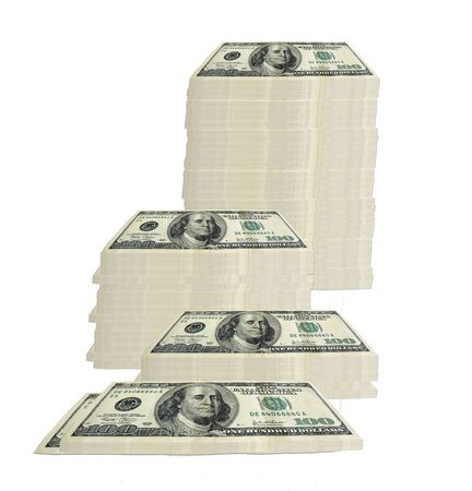 groupings: concept image of 100 hundred dollar bills stacked in various groupings of different heights