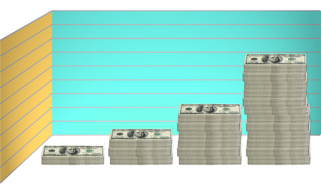 groupings: concept image of 100 hundred dollar bills stacked in various groupings of different heights in a graph formation