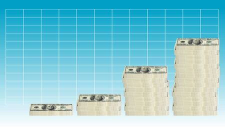 concept image of 100 hundred dollar bills stacked in various groupings of different heights in a graph formation