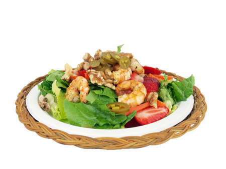 healthy salad of shrimp, lettuce, tomato. onion, pepper, walnuts and jalapeno on a white background Stock fotó - 50756543
