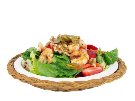 healthy salad of shrimp, lettuce, tomato. onion, pepper, walnuts and jalapeno on a white background Stock fotó - 50756546