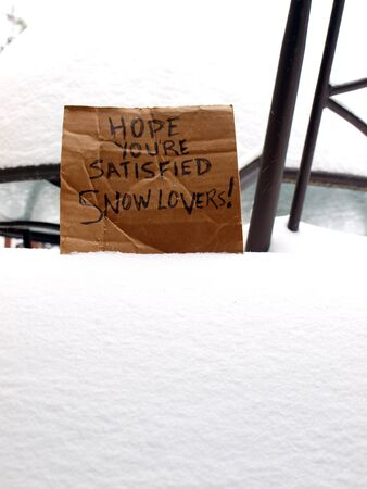 cardboard sign directed to snowlovers during a blizzard in the winter of 2016