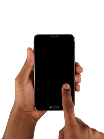 male African American's hands texting ona smartphone with blank screen for adding imagery.