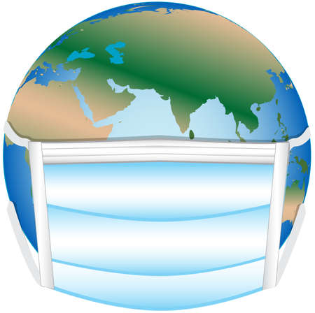 conceptual illustration of the globe with a facemask on to depict a global pandemic Stock fotó
