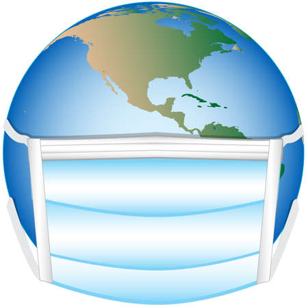 conceptual illustration of the globe with a facemask on to depict a global pandemic Stock fotó - 150819816