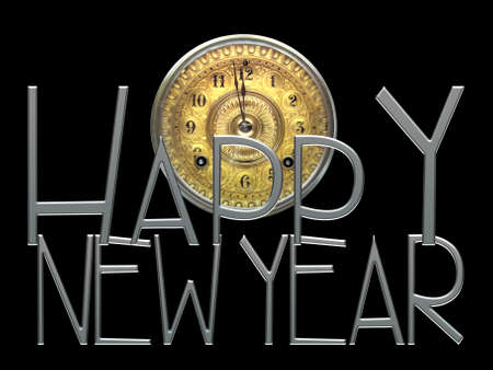 A new years eve concept image of gold antique clock face with the minute hand about to strike 12 o-clock text spelling out Happy New Year isolated on black colored background