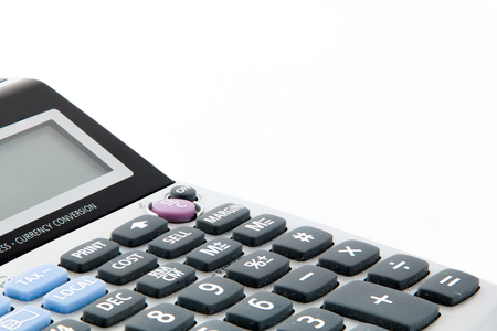 teclado num�rico: Teclado en la calculadora aislada en el fondo blanco