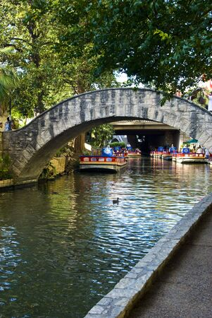 antonio: a view of the San Antonio Riverwalk from the bank of the river in Texas. Stock Photo
