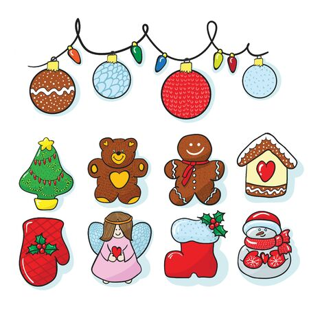 Hand draw set of christmas decoration with bear, ball, mitten, angel and more Reklamní fotografie