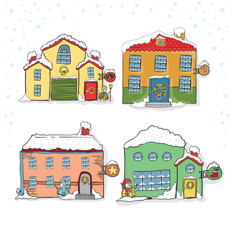 Set of winter houses for Christmas hand draw Ilustrace