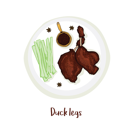 Duck legs on plate with sauce, celery and anise isolated hand draw.