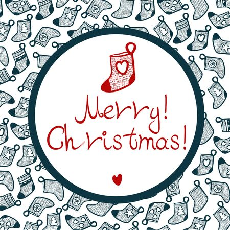 Merry Cristmas stocking with pattern, black, red, white and little heart