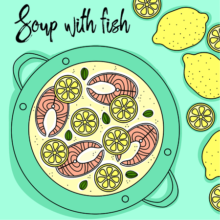 Soup with fish and lemon hand draw top view