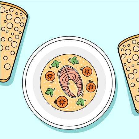 Plate with fish, carrot and greens soup hand drawn Ilustrace