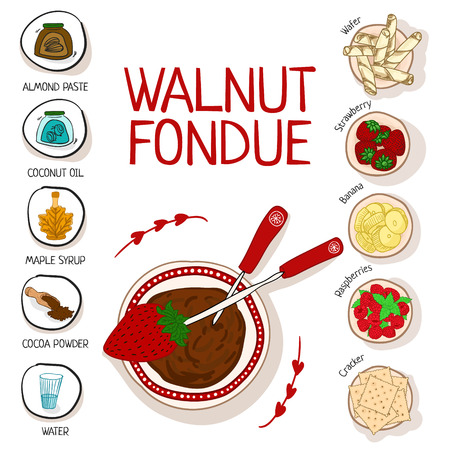Recipe for walnut fondue with ingredients white background